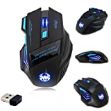 [New Version] Zelotes F14 Professional Blue LED 2400 DPI 9 Buttons USB 2.4G Optical Wireless Gaming Mouse Mice for gamer(Black) (Color: Black)