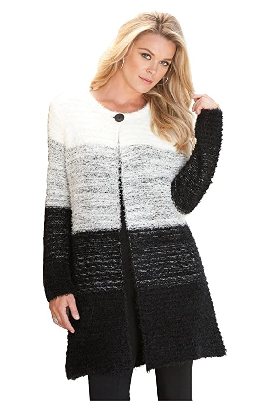 Roamans Women's Plus Size Ombre Eyelash Cardigan