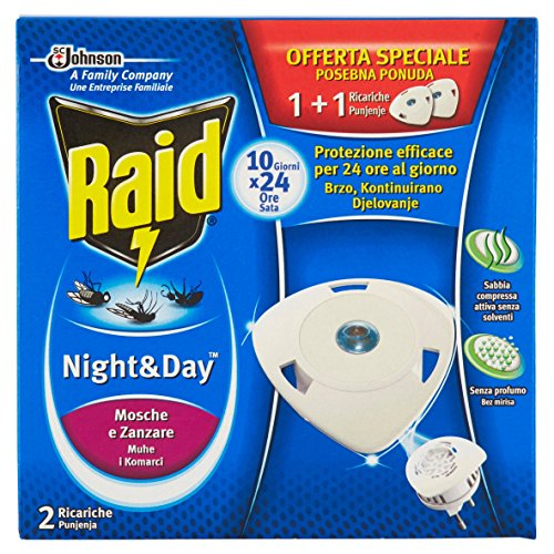 Raid Night & Day Mosche e Zanzare - 2 Ricariche
