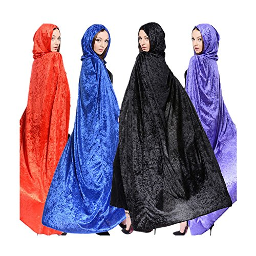 [Womens Halloween Witch Velvet Hooded Cloak Costumes Wizard Party Cape Cosplay Black] (Black Costumes Cape)