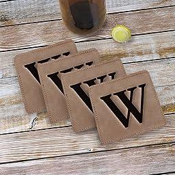 Monogram Engraved Leather Coasters