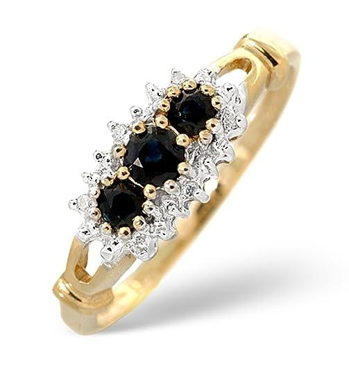 TheDiamondStore | Cluster Ring - Dark Blue Sapphire & Diamond - 9K Gold