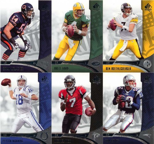 2006 Upper Deck Sp Authentic Football Series 90 Card Veterans Complete Mint Set. Loaded With Stars Including Ben Roethlisberger, Michael Vick, Brett Favre, Peyton Manning, Tom Brady, Larry Johnson, Cadillac Williams, Randy Moss, Donovan Mcnabb, Carson Pal
