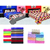 Hannumant Combos Of 2 100% Cotton Double Bed Sheet With 4 Pillow Covers & Hannumant Set Of 100% Cotton 10 Hand...