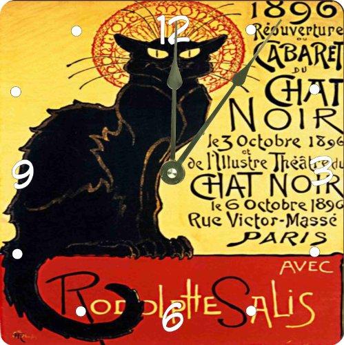 "Rikki Knighttm La Chat Noir Design 6"" Art Desk Clock front-623307"