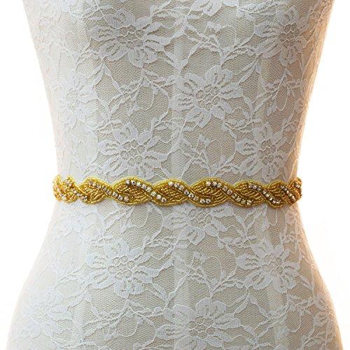 1 Yard Wedding Belt Bridal Sash with Rhinestone and Crystal Stones Beaded Gold