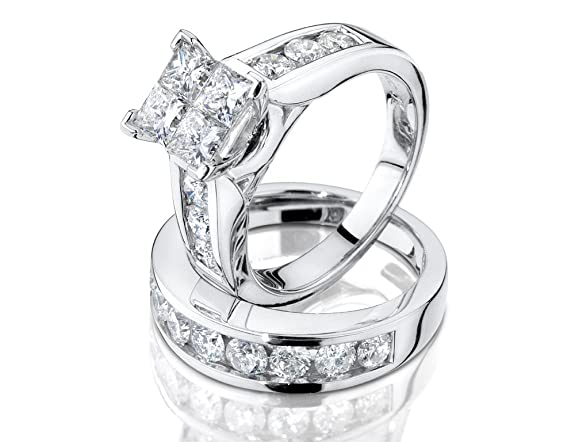 Princess Cut Diamond Engagement Ring and Wedding Band Set 1 Carat (ctw) in 10K White Gold