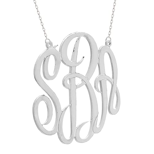 Personalized Sterling Silver Monogram Necklace (Made in USA)