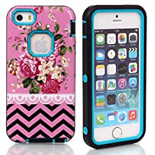 buy 5S Case, Iphone 5S Case,Iphone 5 Case, *No Fade/No Peel*,New, Magicsky Iphone 5/5S Cover With Pink Flower Wave Pattern Full Body Hybrid Impact Shockproof Defender Case Cover For Apple Iphone 5/5S, 1 Pack(Pink Flower/Teal)