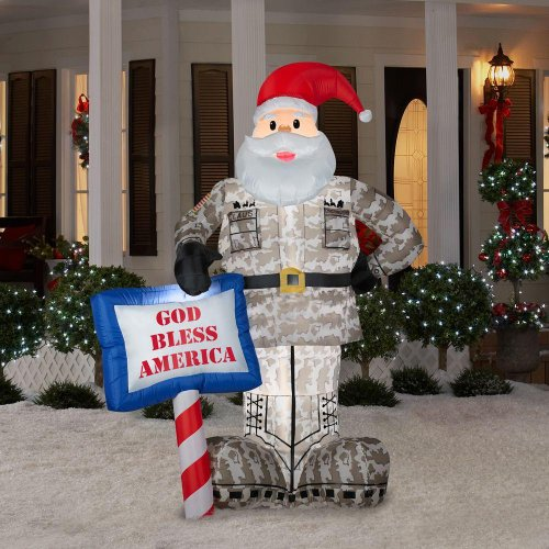 Christmas Decoration Lawn Yard Inflatable Airblown Military Santa 7' Tall front-483644