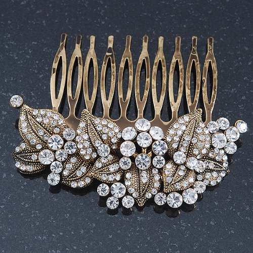 Vintage Inspired Bridal/ Wedding/ Prom/ Party Austrian Clear Crystal 'Leaves & Flowers' Hair Comb In Antique Gold Metal - 80mm 1