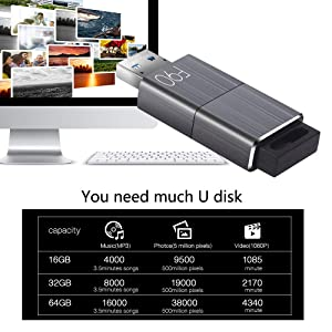 128GB USB 3.0 Flash Drive, Techkey F90 Pen Drive High Speed Thumb Drive Capless Pendrive Retractable USB Memory Stick Shock Resistant Jump Drive Compact Size (Tamaño: 128GB)