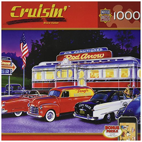 MasterPieces Puzzle Company Cruisin' Dinner at the Red Arrow Jigsaw Puzzle (1000-Piece), Art by Bruce Kaiser