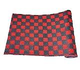送料無料 フリーカット生地 フロアマット カーマット 約150cm×約55cm チェック 黒×赤 1枚 FBA