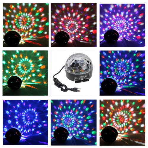 AGPtek 6 mix colors Mini 20W DMX Voice-activated RGB LED Crystal Magic Ball Effect light Disco DJ Stage Party Lighting