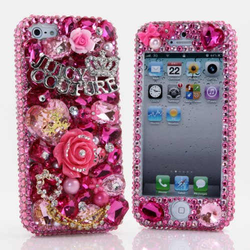 Great Sale iphone 5 5S Luxury 3D Swarovski Pink Juicy Crystal Bling Front & Back Case Cover (100% Handcrafted by BlingAngels)