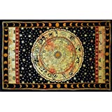 "Handicrunch Black Zodiac Horoscope Tapestry, Indian Astrology Hippie Wall Hanging, Ethnic Decorative Art, Celtic Zodiac Tapestry. (85"" x 55')"
