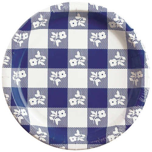 Creative Converting  Blue Gingham Paper Plates,  8  7/8 Inch, 25 Count