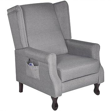 vidaXL Poltrona TV massaggio in tessuto grigio regolabile reclinabile
