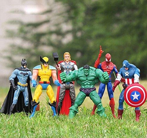 6pcs/set Approx 6'' 15cm Super Hero Marvel The Avengers action mini figure set Toys Spiderman Captain America Hulk