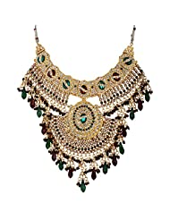 Lucky Jewellery Maroon And Green Gold Plated Bridal Jewellery Set For Women