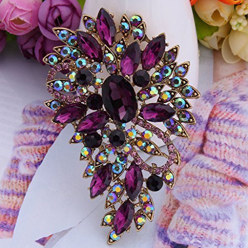 EVER FAITH® Vintage Inspired Flower Teardrop Purple Austrian Crystal Bouquet Brooch Pendant 2