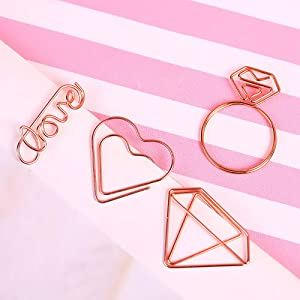 Cute Paper Clips, Love Heart Diamond Ring Shape Assorted Small Paperclips - Funny Bookmark Marking Clips for Office School Wedding Party Invitation Valentine Decoration - Planner Paperclips (20 pcs)