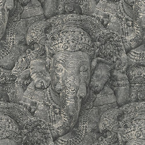 rasch-stone-ganesh-photographic-pattern-wallpaper-realistic-faux-effect-elephant-charcoal-525502