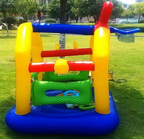 Cadeau Jour Petit Ménage Sécurité Trampoline Jeu pour enfants Lit enfants extérieur Méchant Fort Castle ( Color : Blue+Yellow )