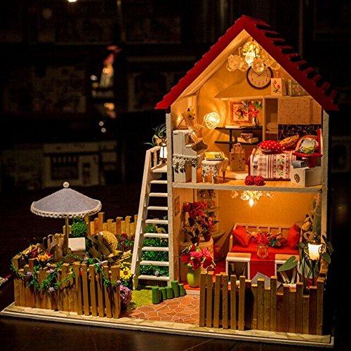 [OK59 Plan toys dollhouse DIY Wooden Miniature Dream House With LED Furniture Christmas Gift Birthday Gift--happy family] (Malibu Barbie Costume)