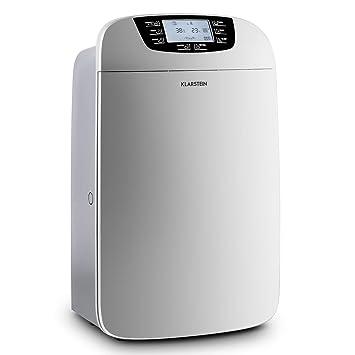 Klarstein Drybest 35 deumidficatore depuratore d'aria a compressione trasportabile con doppio filtraggio (530W, 40l/24h, tanica 6L, filtro HEPA, filtro a carbone attivo, 3 livelli, ruote) - grigio