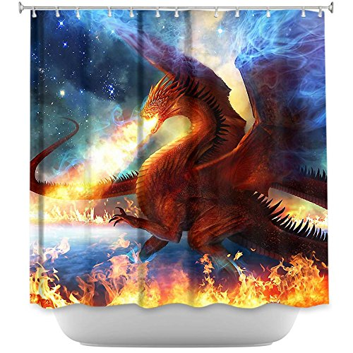 Shower Curtain Artistic Designer from DiaNoche Designs by Arist Philip Straub Unique, Cool, Fun, Funky, Stylish, Decorative Home Decor and Bathroom Ideas - Lord of the Celesetial Dragons