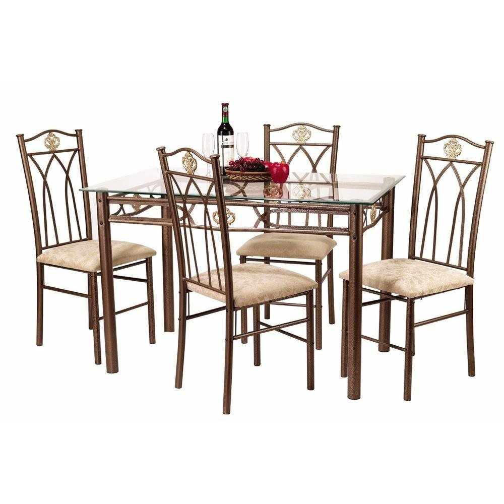 Contemporary rectangular glass top dining tables and sets for 4 piece dining table set