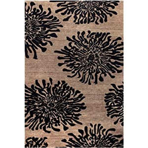 "Surya Bombay BST-496 Contemporary Hand Tufted 100% New Zealand Wool Praline 3'3"" x 5'3"" Floral Area Rug"