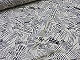 1m単位  アウトレットYUWA有輪  松山敦子 シャーテイング丸  英字イングリッシュ ブラック η|かわいい |生地|布地|安い|服地|手づくり