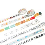 Washi Tape Set of 7 Rolls - Travel bullet Journal Planner Daily Life Diary Number Weather Week Date Notebooks Decorative DIY Japanese Masking Adhesive Sticky Paper Washi Tape Set (width: 15mm) (Color: Travel)