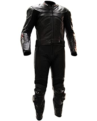 Tschul ® Suite en cuir 725 ALL BLACK Combinaison moto en cuir vachette pour homme Piste Doublure Motard Protections noir