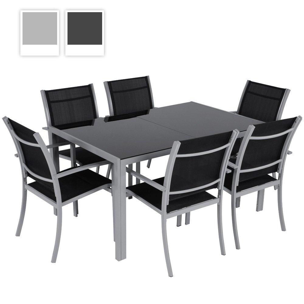 7-teilige Alu Gartengarnitur Gartenmöbel Sitzgruppe mit Glastisch (Farbwahl) online bestellen