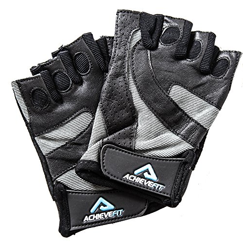 ACHIEVE FIT Weightlifting Gloves - Leather Palm for Fitness savvy Men & Women, Firm Grip, Control & Comfort for Weight lifting, Powerlifting, Crossfit Training, Gym Workout (Small, Standard)