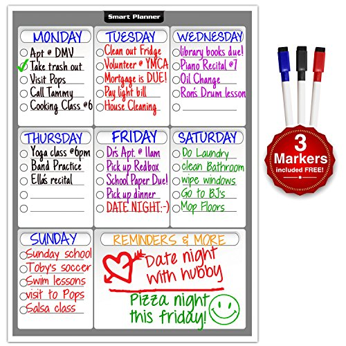 Smart Planner's Weekly Multi-Purpose Magnetic Refrigerator Dry Erase Board | Chores, To do list, Reminders Planner for Kitchen Fridge | With 3 Magnetic Dry Erase Markers Included (Magnetic Board For Refrigerator compare prices)