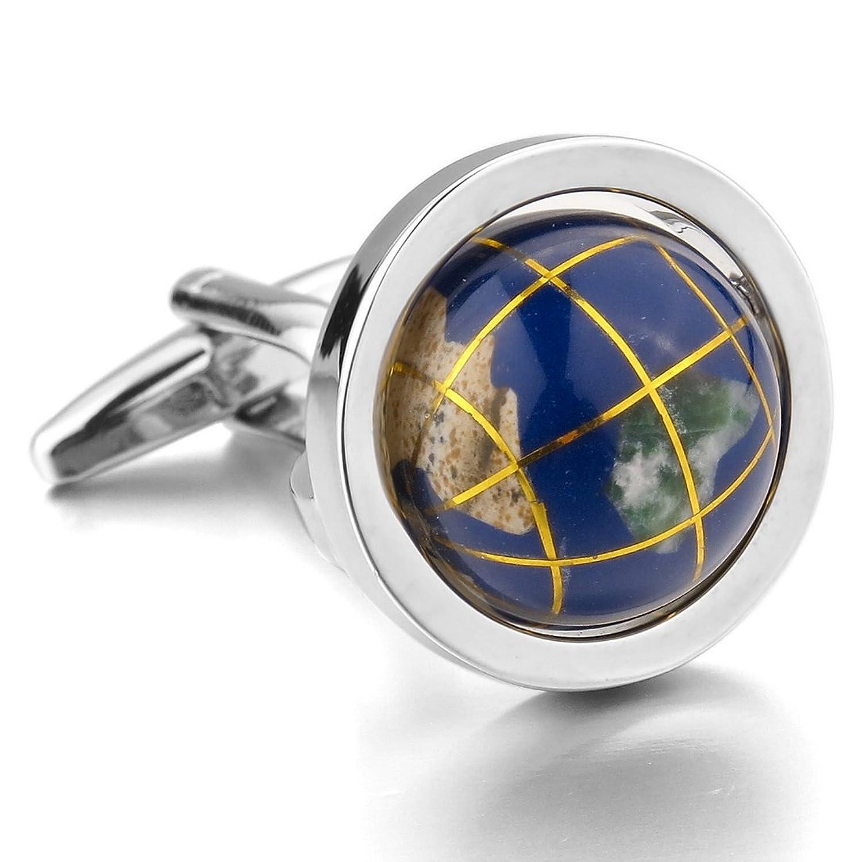 Men's Rhodium Plated Cufflinks Silver Blue Globe Shirt Wedding (with Gift Bag)