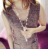 パール 花 ネックレス ペンダント ラリエット風 ロング ゴールド ビジュー 白 キュート セレブ  ファッション 小物 ギフト プレゼント