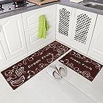 Carvapet 2 Piece Non-Slip Kitchen Mat Rubber Backing Doormat Runner Rug Set, Fruit Design (Brown 15