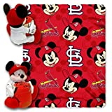 MLB St. Louis Cardinals Mickey Mouse Pillow with Fleece Throw Blanket Set
