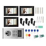 7 Inch Wireless/WiFi Smart Video Door Phone Intercom System Doorbell Entry System with 3 Monitor, IR Night Vision Support 8 Mobile Phoen APP for iOS/Android(us Plug) (Color: us plug)