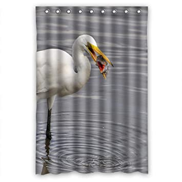 Foraging white crane Shower Curtain Measure 48
