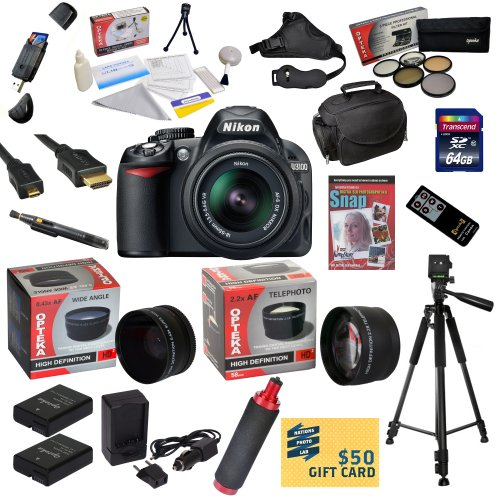 =>>  Nikon D3100 Digital SLR Camera with 18-55mm NIKKOR VR Lens With 47th Street Photo Ultimate Accessory Kit - Includes 64GB Transcend High Speed Memory Card + Card Reader + 2 Additional Extended Life EN-EL14 Replacement Battery Packs + AC/DC Rapid Travel Charger + 0.43x HD2 Wide Angle Panoramic Macro Fisheye Lens + 2.2x HD2 AF Telephoto Lens + 52MM Professional 5 Piece Filter Kit (UV, CPL, FL, ND4 and 10x Macro Lens) + HDMI Cable + Soft Gadget Bag Carrying Case + Professional Photo / Video 60