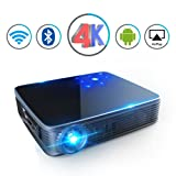 Mini Projector HD DLP Video Max200 Home Video Theater 3500 Lumens support 2K/4K Wireless WIFI Bluetooth Android System Game Office iPhone Multi-screen Sharing HDMI USB SD Card AV Black