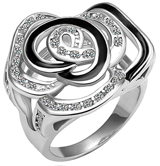 Generic Women's Flower Wedding Ring Size 7 Color Silver