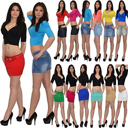 Mini Rock Minirock Jeans Damen Jeansrock in 15 Farben